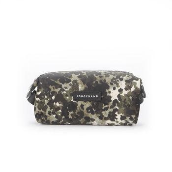 【LONGCHAMP】Le Pliage Neo Fantaisie 迷彩印花方形化妝包(墨綠)