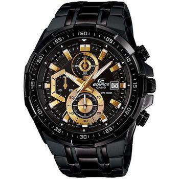 CASIO EDIFICE 疾黑耀星紀元碼表計時賽車錶(金x黑)_EFR-539BK-1A