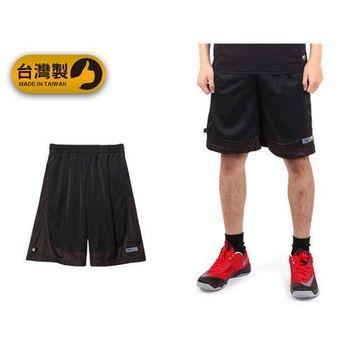 【FIRESTAR】男運動短褲-台灣製 籃球褲 休閒短褲 五分褲 黑紅  台灣製造