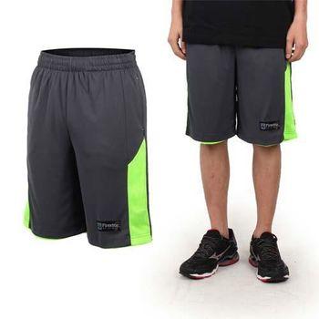 【FIRESTAR】男籃球褲-運動短褲 五分褲 休閒短褲 灰綠  可雙面穿