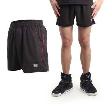 【FIRESTAR】男休閒短褲-慢跑 路跑 運動褲 台灣製 黑紅  兩側口袋設計