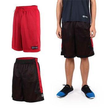【FIRESTAR】男雙面網布籃球短褲-慢跑 路跑 籃球 休閒 黑紅  雙面穿設計