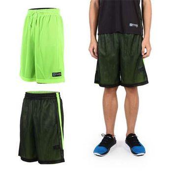 【FIRESTAR】男雙面網布籃球短褲-慢跑 路跑 籃球 休閒 黑螢光綠  雙面穿設計