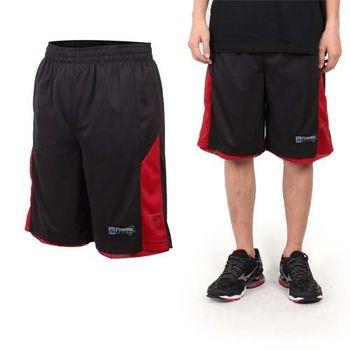 【FIRESTAR】男籃球褲-運動短褲 五分褲 休閒短褲 黑紅  可雙面穿