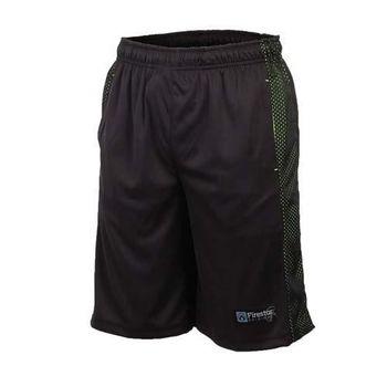 【FIRESTAR】男籃球短褲-運動短褲 球褲 黑亮綠  雙側口袋