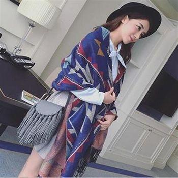 【米蘭精品】圍巾羊毛絨長披肩簡約大方幾何圖形圍脖2色73hy32