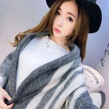 【米蘭精品】圍巾羊毛絨長披肩韓版氣質格子印花圍脖73hy44