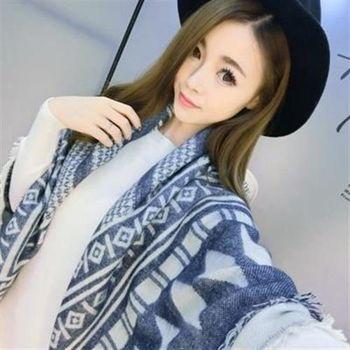 【米蘭精品】圍巾羊毛絨長披肩復古風格幾何印花圍脖73hy59