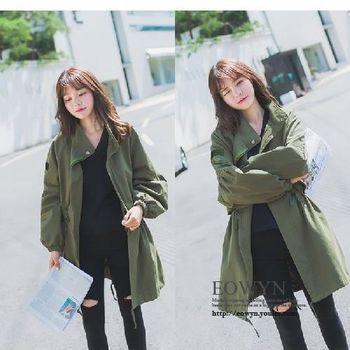 中長款風衣女韓版寬松收腰立領工裝百搭純色大碼軍綠色/S/M/L/XL