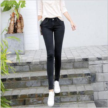 (現貨+預購 RN-girls)-韓版秋季新品高腰修身顯瘦彈力牛仔鉛筆褲