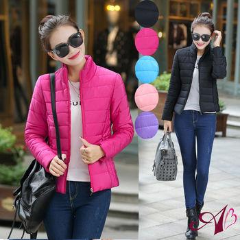 【A3】輕薄時尚 顯瘦羽絨棉外套(黑色/桃紅/天空藍/紫羅蘭/粉色)M-XL