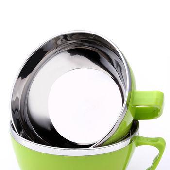 PUSH!餐具防燙防摔加厚304不鏽鋼碗泡麵碗飯碗湯碗帶蓋E63綠色