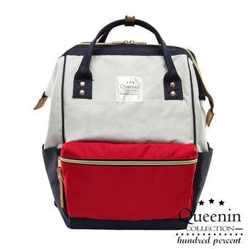 DF Queenin日韓 - 日本熱銷寬口大容量手提後背包-拼色