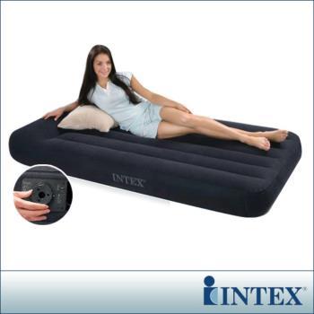 【INTEX】舒適型內建電動幫浦充氣床墊-單人加大-寬99cm-有頭枕 (66775)