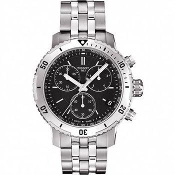 TISSOT 天梭 PRS 200系列三眼計時腕錶-黑/42mm T0674171105101