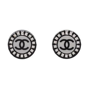 CHANEL 經典雙C LOGO方鑽鑲嵌圓型壓克力穿式耳環(黑)