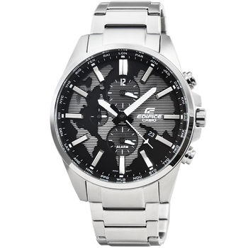 CASIO 卡西歐EDIFICE大錶徑三眼計時錶-黑 / ETD-300D-1A