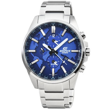 CASIO 卡西歐EDIFICE大錶徑三眼計時錶-藍 / ETD-300D-2A