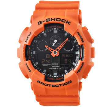CASIO 卡西歐G-SHOCK 雙顯重機鬧鈴電子錶-橘紅 / GA-100L-4A
