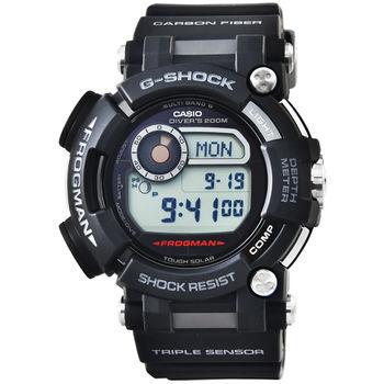 CASIO 卡西歐G-SHOCK 藍寶石太陽能電波鬧鈴蛙王潛水錶-黑 / GWF-D1000-1