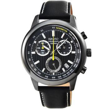 SEIKO精工三眼計時皮帶錶-IP黑框 / SSB213P1