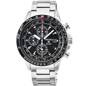 SEIKO精工PROSPEX 雙時區太陽能鬧鈴三眼計時飛行錶-黑 / SSC009P1