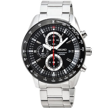 SEIKO精工三眼計時賽車錶-IP黑框 / SNDB73P1
