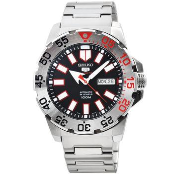 SEIKO 精工5號超霸機械鋼帶腕錶-黑 / SRP485K1
