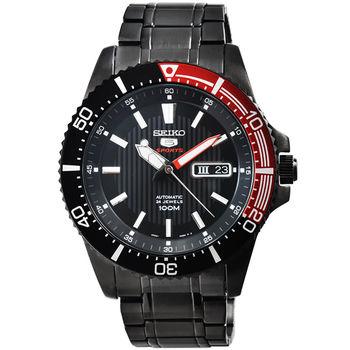 SEIKO 精工5號超霸機械鋼帶腕錶-IP黑 / SRP575K1