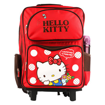 Hello Kitty 雙層三段式拉桿後背書包-紅色