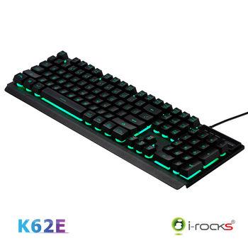 i-Rocks K62E多色彩金屬背光遊戲鍵盤-黑