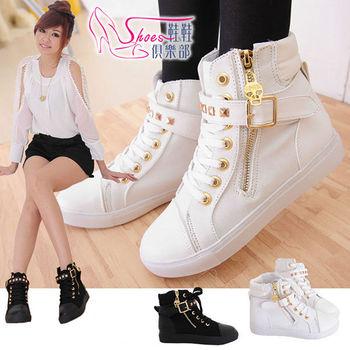 【ShoesClub】【026-168】龐克骷髏拉鍊鉚釘皮帶高筒休閒帆布鞋.2色 黑/白 (版型偏小)