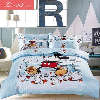 【LUNA VITA 正版迪士尼系列授權】雙人舖棉兩用被床包四件式 - 米奇趣郊遊