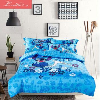 【LUNA VITA 正版迪士尼系列授權】雙人舖棉兩用被床包四件式 - 快樂史迪奇