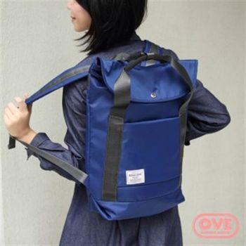 【OVE】反摺手提後背包(藍色)