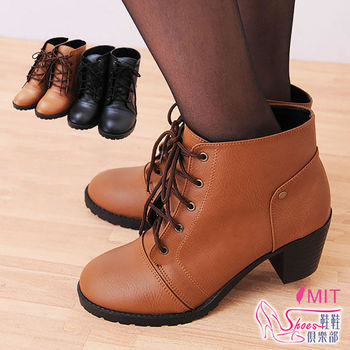 【ShoesClub】【023-6123】台灣製MIT 時尚百搭素面綁帶中跟騎士短靴.2色 黑/棕