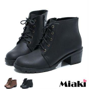 【Miaki】MIT 英倫學院綁帶低跟短靴踝靴牛津鞋(咖啡 / 黑色)