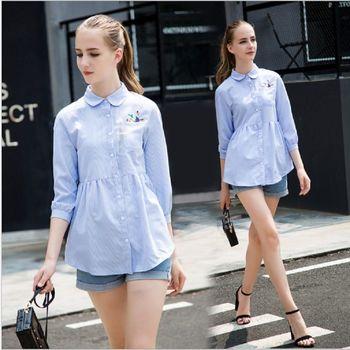 (現貨+預購 RN-girls)-歐美秋裝新款簡約時尚條紋寬鬆娃娃領襯衫