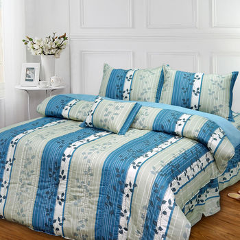 【Victoria】飄花藍 特大五件式純棉床罩組