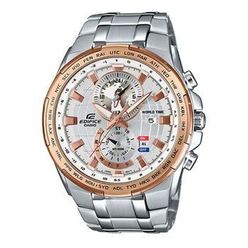 CASIO 卡西歐 EDIFICE 世界地圖急速賽車雙顯腕錶-白面/49.2mm/EFR-550D-7A