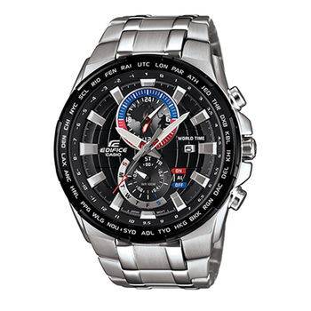 CASIO 卡西歐 EDIFICE 阿斯拉急速賽車世界地圖雙顯錶-黑面/49.2mm/EFR-550D-1A