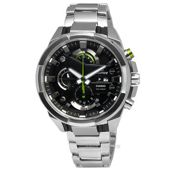 EDIFICE CASIO★贈皮錶帶 / EFR-540D-1A 風暴強勢登場三環不鏽鋼手錶 黑色x綠色 45mm