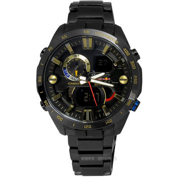 EDIFICE CASIO★贈皮錶帶ERA-201RBK-1A Infiniti Red Bull Racing聯名款指針數位雙顯男錶 黑x金45mm