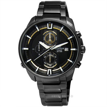 EDIFICE CASIO★贈皮錶帶 / EFR-533BK-1A9 個性耀眼設計三環計時黑鋼腕錶 黃色 43mm