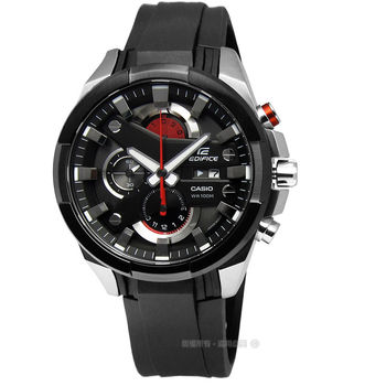 EDIFICE CASIO★贈皮錶帶 / EFR-540-1A 風暴強勢登場三環橡膠腕錶 黑色x紅色 45mm