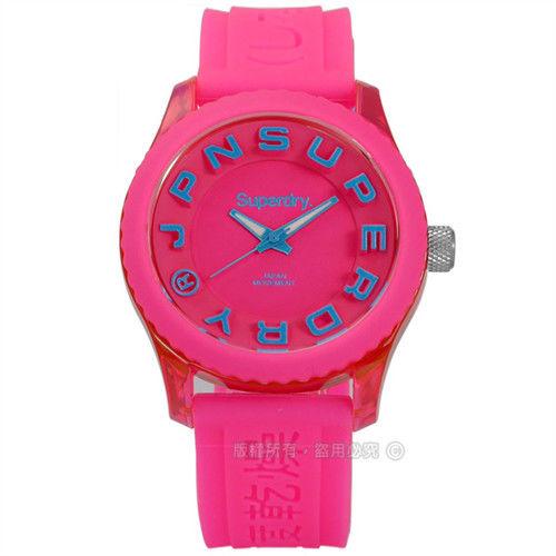 Superdry 極度乾燥 / SYL146PAU-I / Tokyo 東京炫彩立體矽膠手錶 粉紅色 38mm