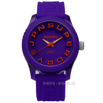 Superdry 極度乾燥 / SYL146OV-I / Tokyo 東京炫彩立體矽膠手錶 紫色 38mm