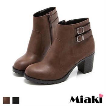 【Miaki】MIT 短靴踝靴韓風經典圓頭牛津靴(咖啡色 / 黑色)