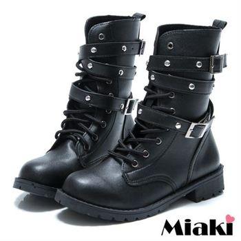 【Miaki】MIT 韓式軍裝雙環高筒馬汀靴短靴軍靴(黑色)