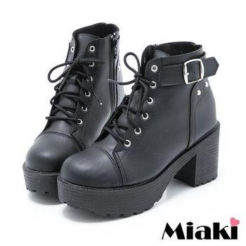 【Miaki】MIT 短靴韓國首選厚底休閒踝靴(黑色)